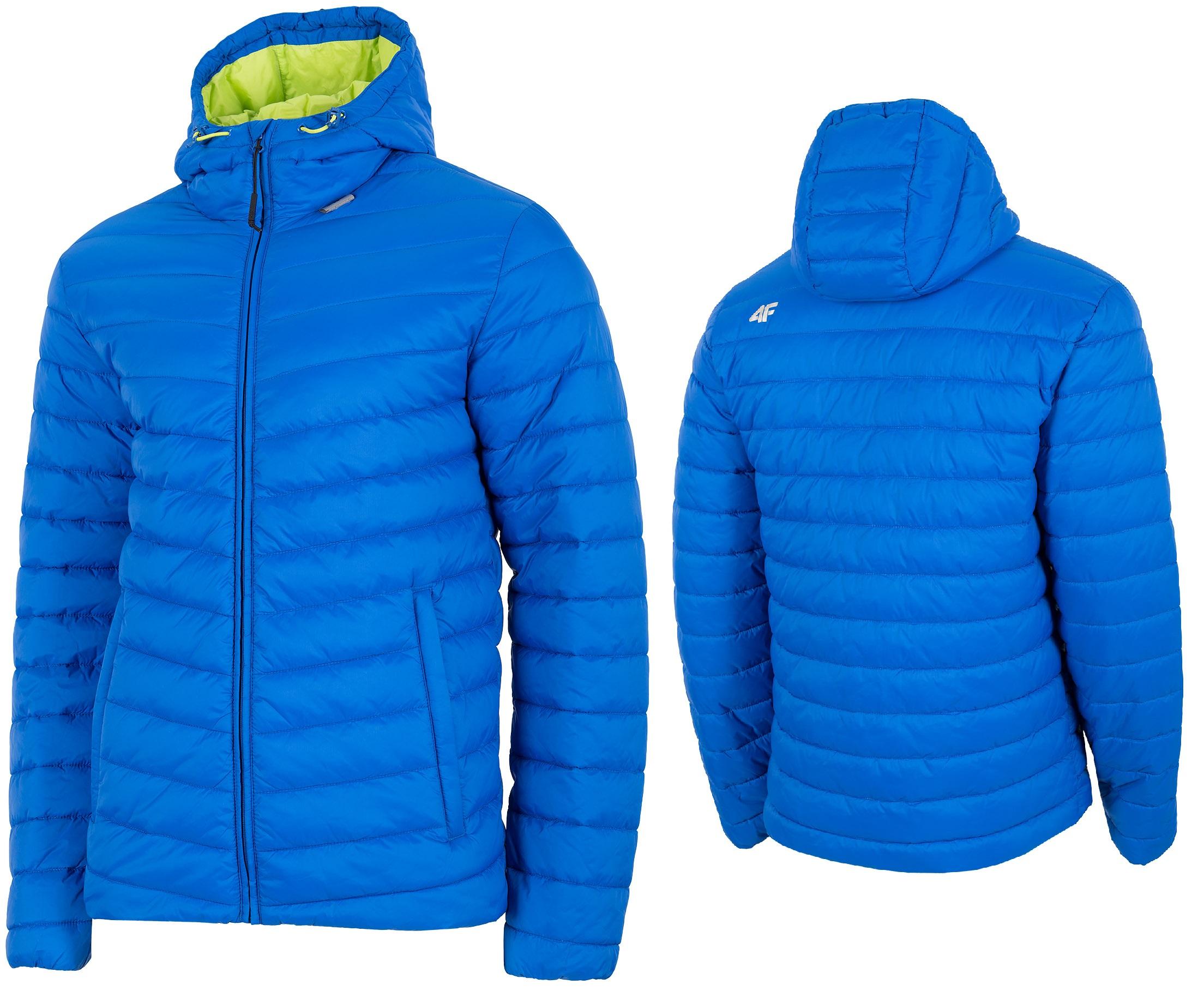Męska kurtka puchowa pikowana 4F H4Z19 KUMP002 zielony niebieski