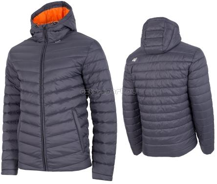 Męska kurtka puchowa pikowana 4F H4Z19 KUMP002 pomarańcz grafit